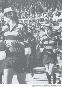 Graeme Mourie and Grant Griffith run out for the Poneke centenary match 1983